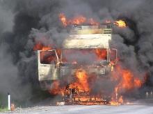На трассе сгорела фура с металлоломом