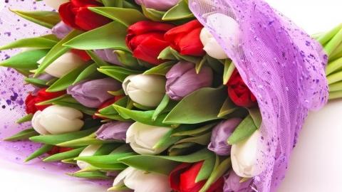 Полицейские кавалеристы дарили саратовчанкам праздничные цветы