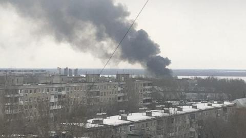 В Заводском районе горит элеватор