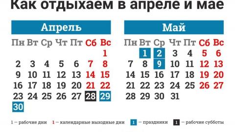 Последняя неделя в апреле будет шестидневной