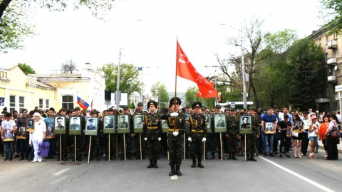 """Более 500 сотрудников и студентов Гагаринского университета приняли участие в """"Бессмертном полку"""""""