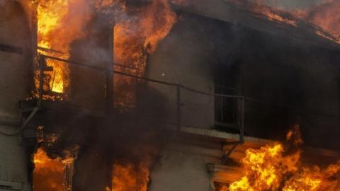 Пожар в Заводском районе. Горел дом на площади 85 кв. метров