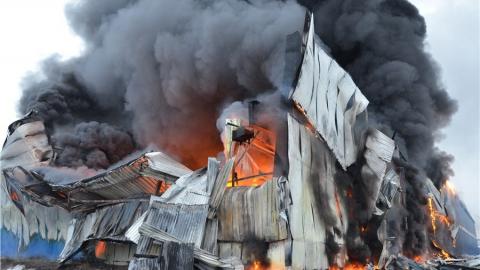 В Ершове горела скотобойня