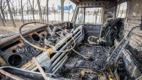 Сегодня утром под Саратовом сгорел большегруз