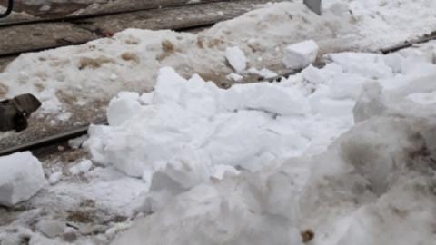 Снег, остановивший два трамвайных маршрута, упал с цветочного киоска
