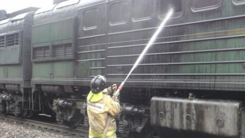 Локомотив загорелся на станции Шиханы-1