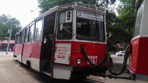 Трамвай маршрута №9 остановился из-за ремонтных работ