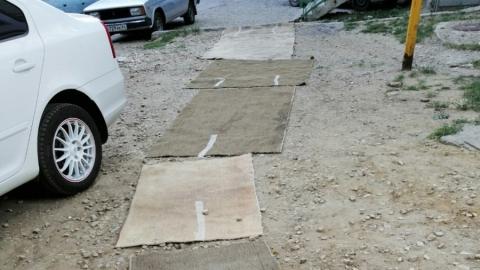 Жители саратовского дома «отремонтировали» асфальт во дворе коврами