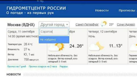 """Саратов """"пропал"""" с сайта гидрометцентра России"""