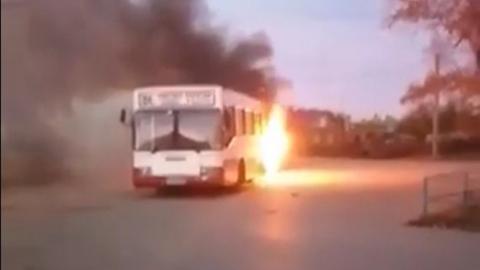 В Энгельсе сгорел пассажирский автобус. Видео