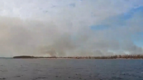 Горит остров Пустынный на Волге в районе города Балаково. Видео