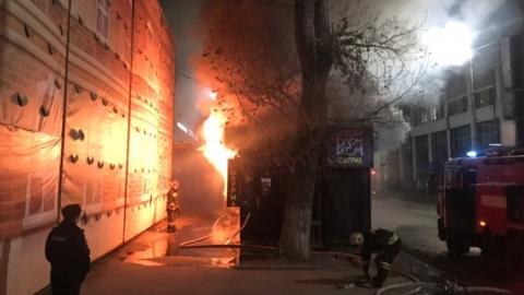 Пожар в торговом павильоне на Аткарской