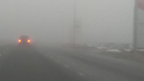 Предупреждение водителям: густой туман на выезде из города