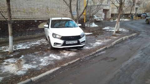 Волгоградский автохам регулярно паркуется на газоне