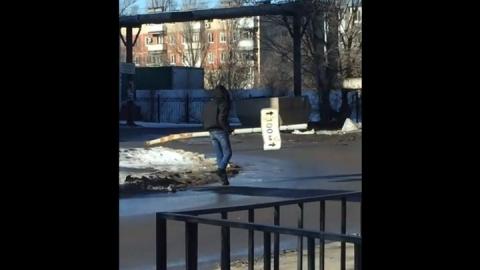 Саратовец выкорчевал и унес дорожный знак вместе со столбом | Видео