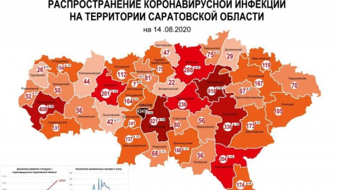 Опубликована свежая коронасирусная карта Саратовской области