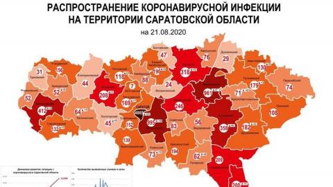 Появилась новая карта распределения случаев коронавируса в Саратовской области