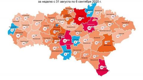 В четырех районах области за неделю не прибавилось коронавирусных больных