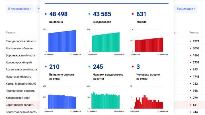 Суточная смертность от коронавируса в Саратове не снижается.