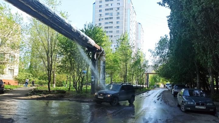 Предприимчивые саратовцы моют машины под прорвавшейся трубой | ВИДЕО