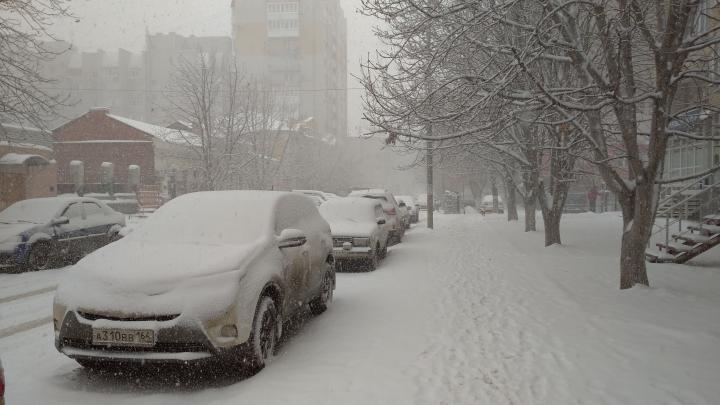 Сильный ветер и снегопад ждут Саратов